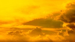 Dramatic clouds and sky like heaven view at sunset time. with gold or golden light tone.