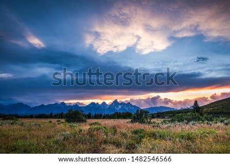 Dramatic Clouds in Tetons Sunset - 2 #1482546566