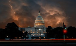 Dramatic clouds on United States Capitol Building in Washington DC USA dark stormy sky with lightnings