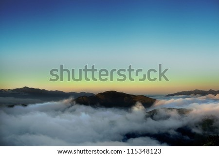 Dramatic clouds over the  high mountain in Taiwan, Asia