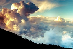 Dramatic clouds over Troodo mountains. Cyprus