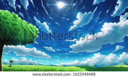 Dramatic Clouds Pattern on a Hill Anime Background Illustration Landscape