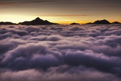 Dramatic clouds with mountain silhouette in dawn,Taiwan, Asia.