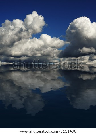 Dramatic cloudscape on a blue sky, reflecting in the ocean.