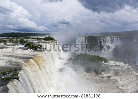 Dramatic cloudscape over the Iguazu Falls