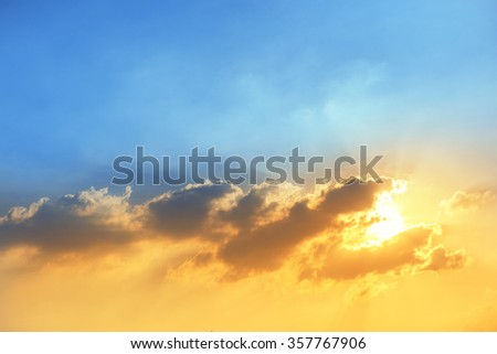 dramatic colorful sky at sunset with clound in Thailand  #357767906