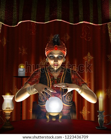 Dramatic concept of a mystic mystic, female Gypsy fortune teller with a lighted crystal ball in her tent, realistic 3d render  #1223436709