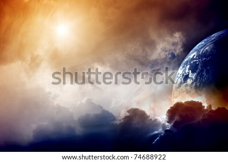 Dramatic dark background - planet Earth disaster