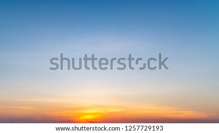 Dramatic early sunrise sky, Clear sky with soft clouds in early morning
