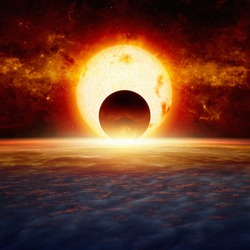Dramatic fantastic background - exploding red planet approaching planet Earth, end of world, red glowing sun. Elements of this image furnished by NASA nasa.gov