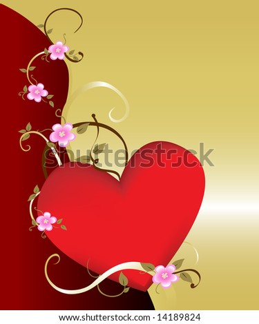 Dramatic floral heart background on gold. Ideal for romantic and tender concepts.