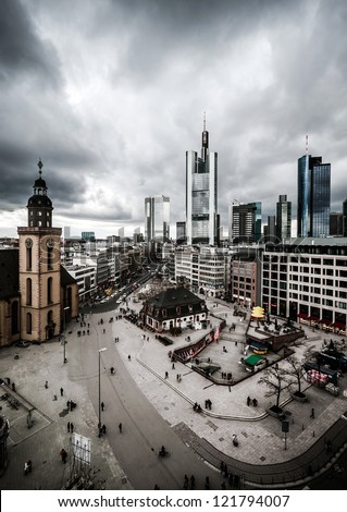 Dramatic Frankfurt downtown with skyscrapers