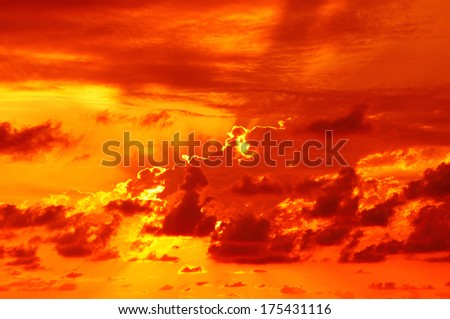 Dramatic golden sky at the sunrise background