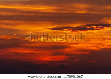 dramatic golden sky at the sunset background
