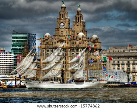 Dramatic HDR image of Tall Ships in the Liverpool harbour