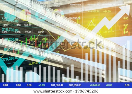 Dramatic image cross over junction of superhighway in many direction with graph and chart data for business and transportation presentation background. Stock photo ©