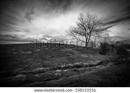 Dramatic landscape image of an ominous sky behind a small hill with a single, leafless tree, shot in black and white.