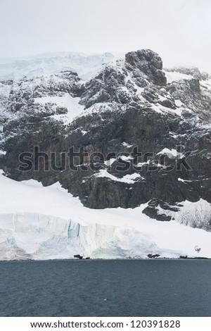 Dramatic landscape in Antarctica, huge mountain