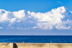Dramatic Landscape of Cumulonimbus or Thunderous Clouds above The Sea or Ocean in Summer, Stormy Cloud, Seto Inland Sea in Kagawa Prefecture in Japan,  Natural Image, Nobody