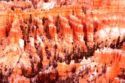 Dramatic landscape of magnificent rocky mountain Bryce canyon National park Utah USA. Bryce is distinctive due to geological structures called hoodoos formed by frost weathering and stream erosion.