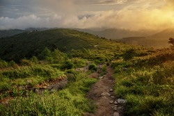 Dramatic landscape sunset scene along Appalachian Mountains hiking trail in North Carolina