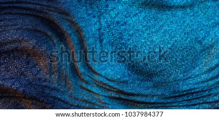 Dramatic lighting of wrinkle blue denim abstract texture background concept collection set. 3D Illustration.