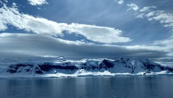 Dramatic lighting on King George Island, in Antarctica.