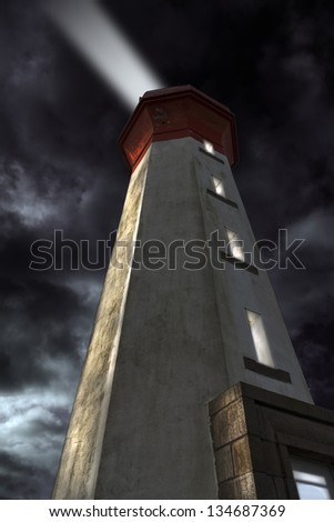 Dramatic lights with lighthouse on a stormy night in France