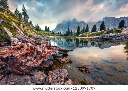 Dramatic morning view of Limides lake. Splendid summer scene of Dolomiti Alps, Cortina d'Ampezzo, Falzarego pass, Italy, Europe. Beauty of nature concept background. #1250991709