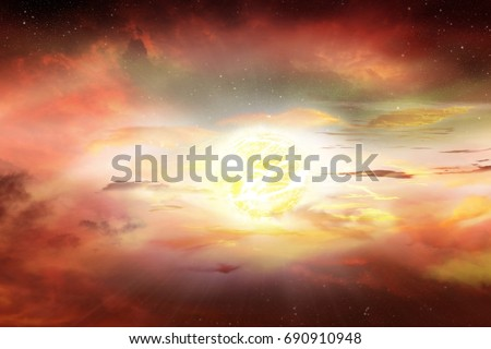 Dramatic nature background . Sunset or sunrise with clouds, light rays and other atmospheric effect . Religion background  . Light in dark sky . beautiful cloud . Apocalyptic background . Solar flare