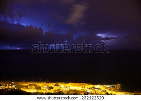 Dramatic night storm with lightning over the Mediterranean