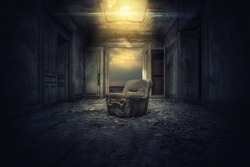 Dramatic Old Room Texture Background with old Chair horror