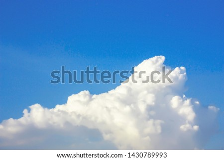 Dramatic panorama view of buautiful form of soft white clouds and summer morning blue sky  for meteorology  forcast background. #1430789993