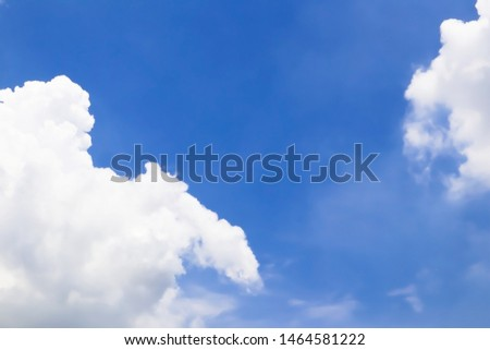 Dramatic panorama view of buautiful form of soft white clouds and summer morning blue sky  for meteorology  forcast background. #1464581222