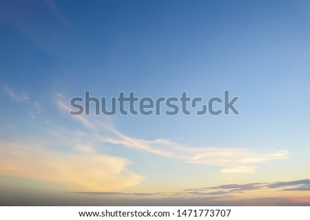 Dramatic panorama view of buautiful form of soft white clouds and summer morning blue sky  for meteorology  forcast background. #1471773707