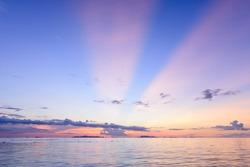 Dramatic panoramic beach sky sunset background