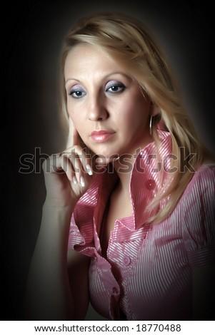 Dramatic portrait of a beautiful but sad lady
