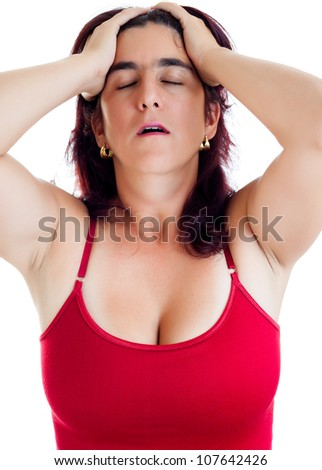 Dramatic portrait of a stressed hispanic woman suffering from a headache isolated on white