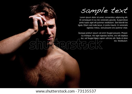 Dramatic portrait of sad or depressed man in pain