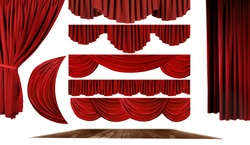 Dramatic red old fashioned elegant theater stage elements of swags to make your own background