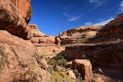 dramatic red  rock formations along the collins spring trail  in the grand gulch area of cedar mesa nera blanding, utah