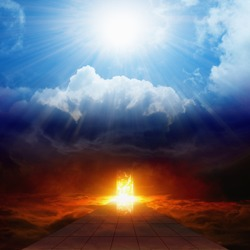 Dramatic religious background - bright light from heaven, burning doorway in dark red sky, road to hell, way to hell, heaven and hell