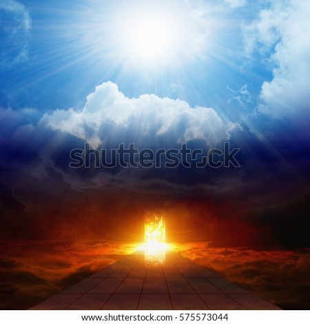 Dramatic religious background - bright light from heaven, burning doorway in dark red sky, road to hell, way to hell, heaven and hell Stock photo ©