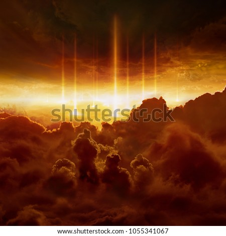 Dramatic religious background - hell realm, bright lightnings in dark red apocalyptic sky, judgement day, end of world, eternal damnation, battle of armageddon