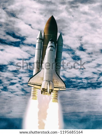 Dramatic rocket launch.  The elements of this image furnished by NASA.