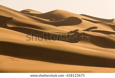 Dramatic sand duns view of Liwa Desert in the western region of Abu Dhabi  #658123675