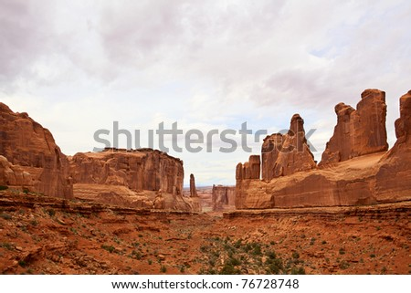 Dramatic sandstone cliffs in Arches National Park, Utah, USA