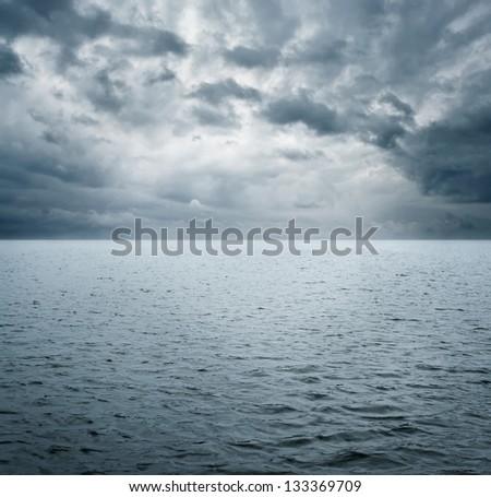 Dramatic scene of ocean before storm