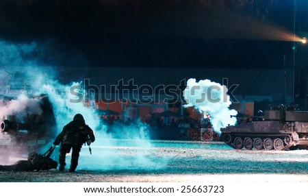 Dramatic scene of Soldiers and Tanks in Battle