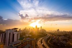 Dramatic scenery sunset of the city center at Kuala Lumpur, Malaysia, Asia